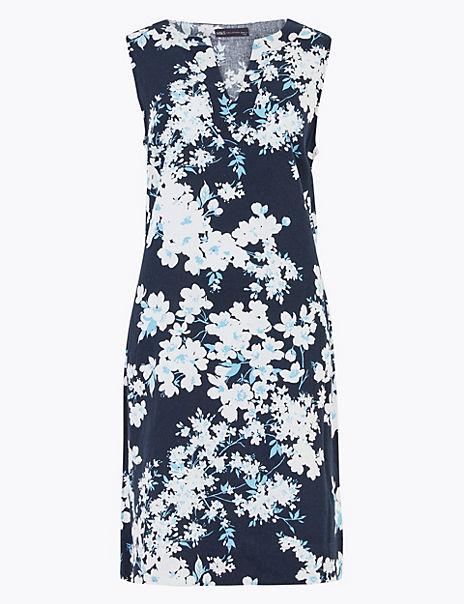 Linen Blend Floral Notch Neck Shift Dress