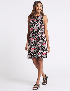 Linen Blend Printed Tunic Dress