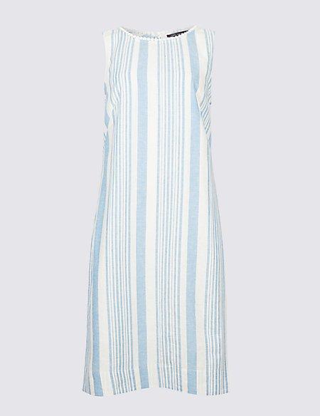 Linen Blend Striped Fuller Bust Tunic Dress