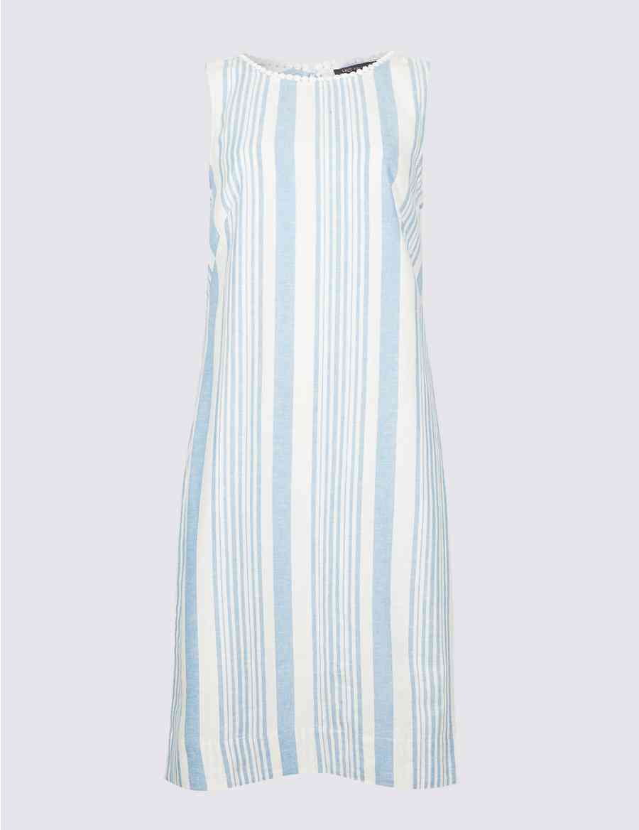 3e0662a8573 Linen Blend Striped Tunic Dress