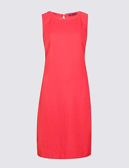Linen Blend Sleeveless Tunic Dress