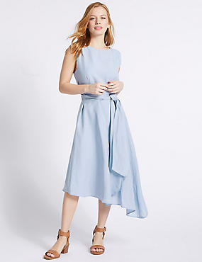 PETITE Linen Blend Tie Waist Slip Midi Dress, BLUE, catlanding