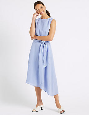 Linen Blend Tie Waist Skater Midi Dress