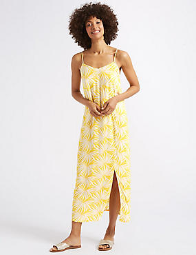 Palm Print Slip Midi Dress