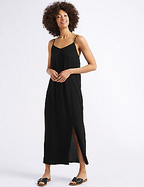 Front Split Slip Midi Dress
