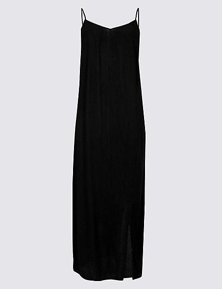 Front Split Slip Midi Dress
