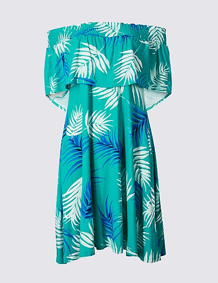 Palm Print Half Sleeve Bardot Dress   M&S Collection   M&S