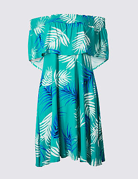 Palm Print Half Sleeve Bardot Dress , GREEN MIX, catlanding