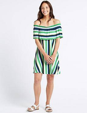 Striped Half Sleeve Bardot Dress