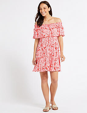 Paisley Print Smocked Bardot Dress