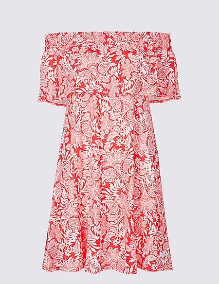 Paisley Print Smocked Bardot Dress