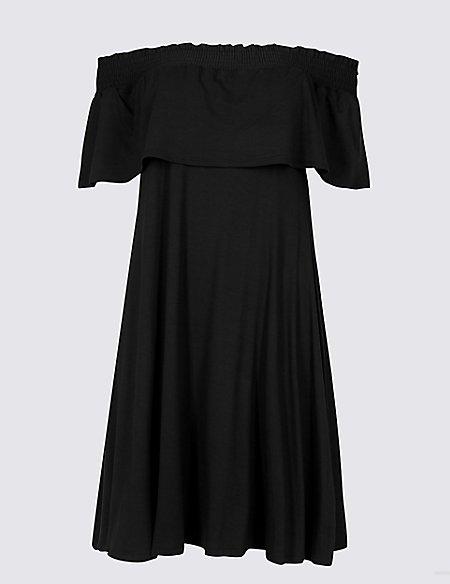 Smocked Half Sleeve Bardot Dress