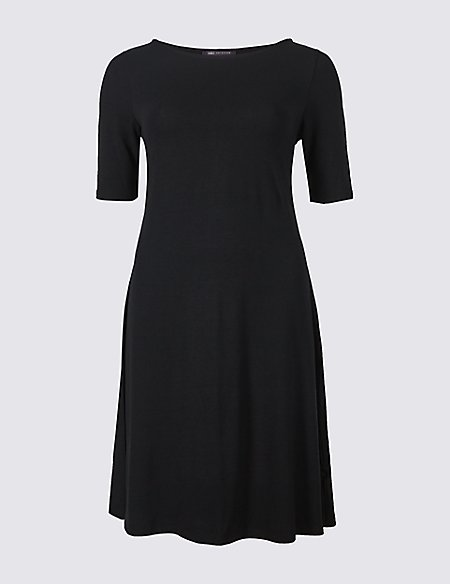 PETITE Jersey Half Sleeve Swing Dress
