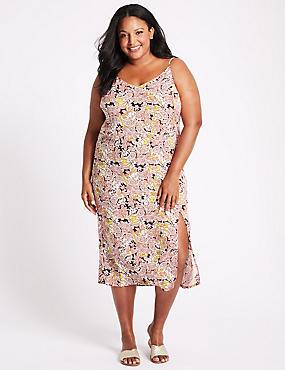 CURVE Floral Print Slip Midi Dress