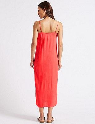 Front Split Slip Midi Dress flame Marks and Spencer