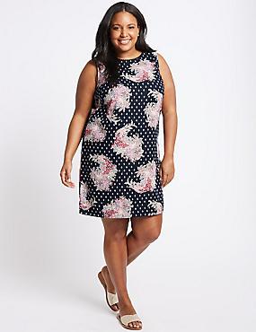 CURVE Linen Blend Floral Print Tunic Dress