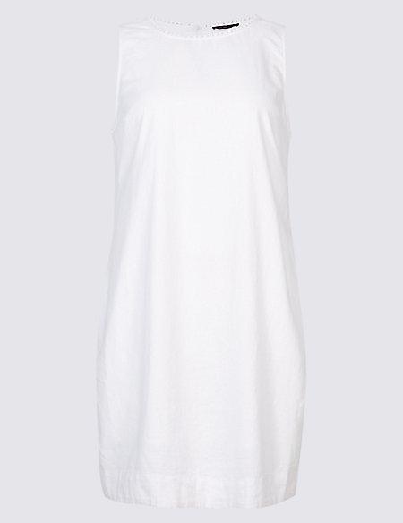 CURVE Linen Blend Round Neck Tunic Dress