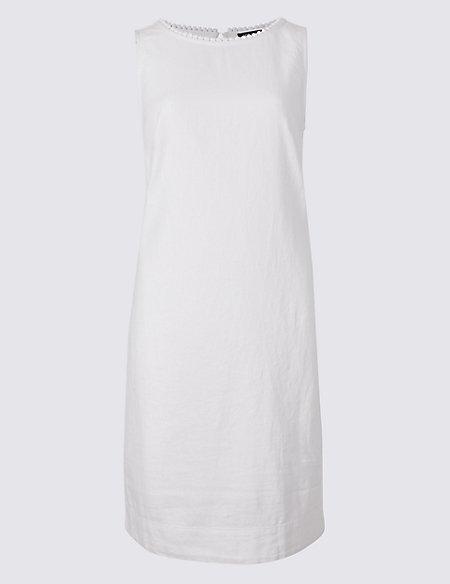 Linen Blend Fuller Bust Tunic Dress