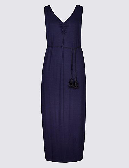 CURVE Ruched Slip Maxi Dress