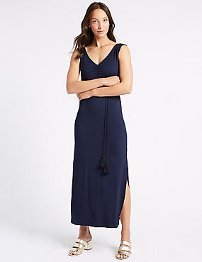 Ruched Sleeveless Maxi Dress with Belt