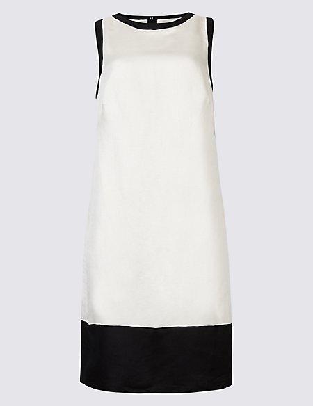 Linen Rich Colour Block Tunic Dress