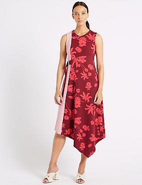 Colour Block Floral Print Wrap Midi Dress