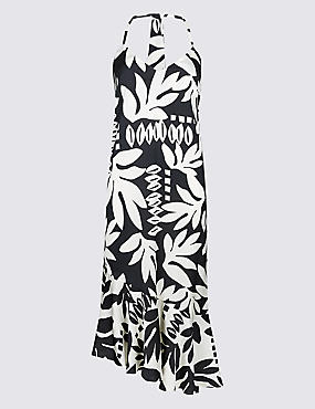 Printed Asymmetric Slip Midi Dress