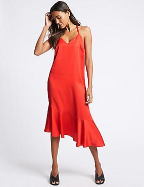 Asymmetric Slip Midi Dress