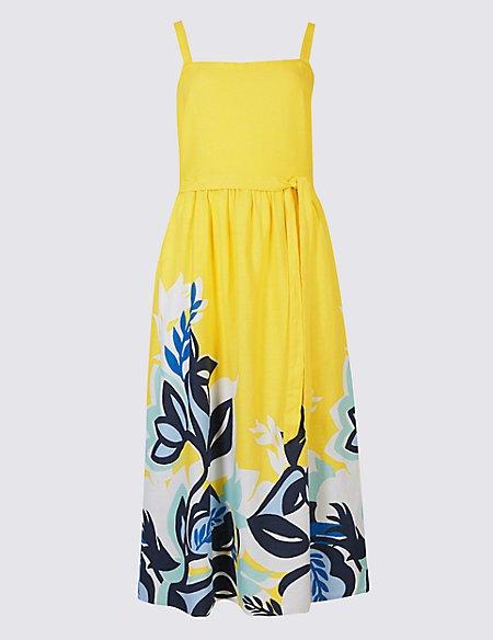 Linen Rich Floral Print Prom Midi Dress