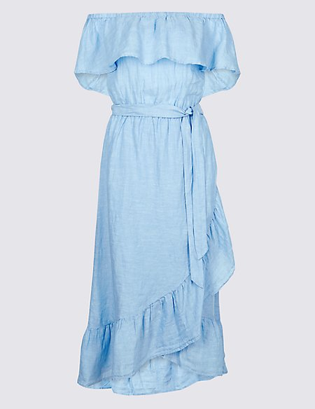 Pure Linen Half Sleeve Bardot Midi Dress