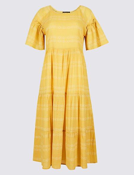 Pure Cotton Printed Skater Midi Dress