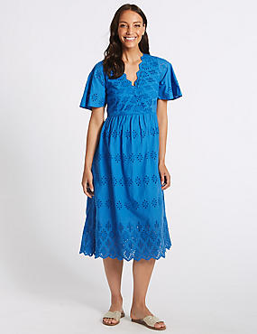 Pure Cotton Broderie Skater Midi Dress