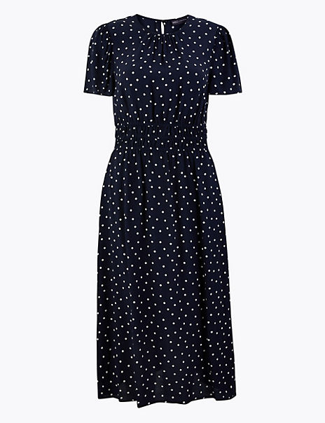 Polka Dot Round Neck Waisted Midi Dress