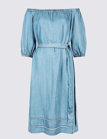 PETITE Tencel Half Sleeve Bardot Midi Dress   M&S Collection   M&S