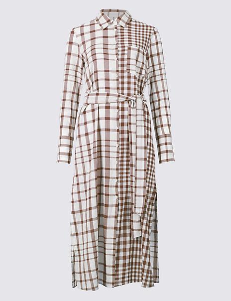 Pure Cotton Checked Shift Maxi Dress