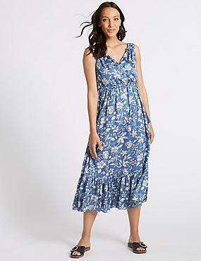 Floral Print Satin Slip Maxi Dress
