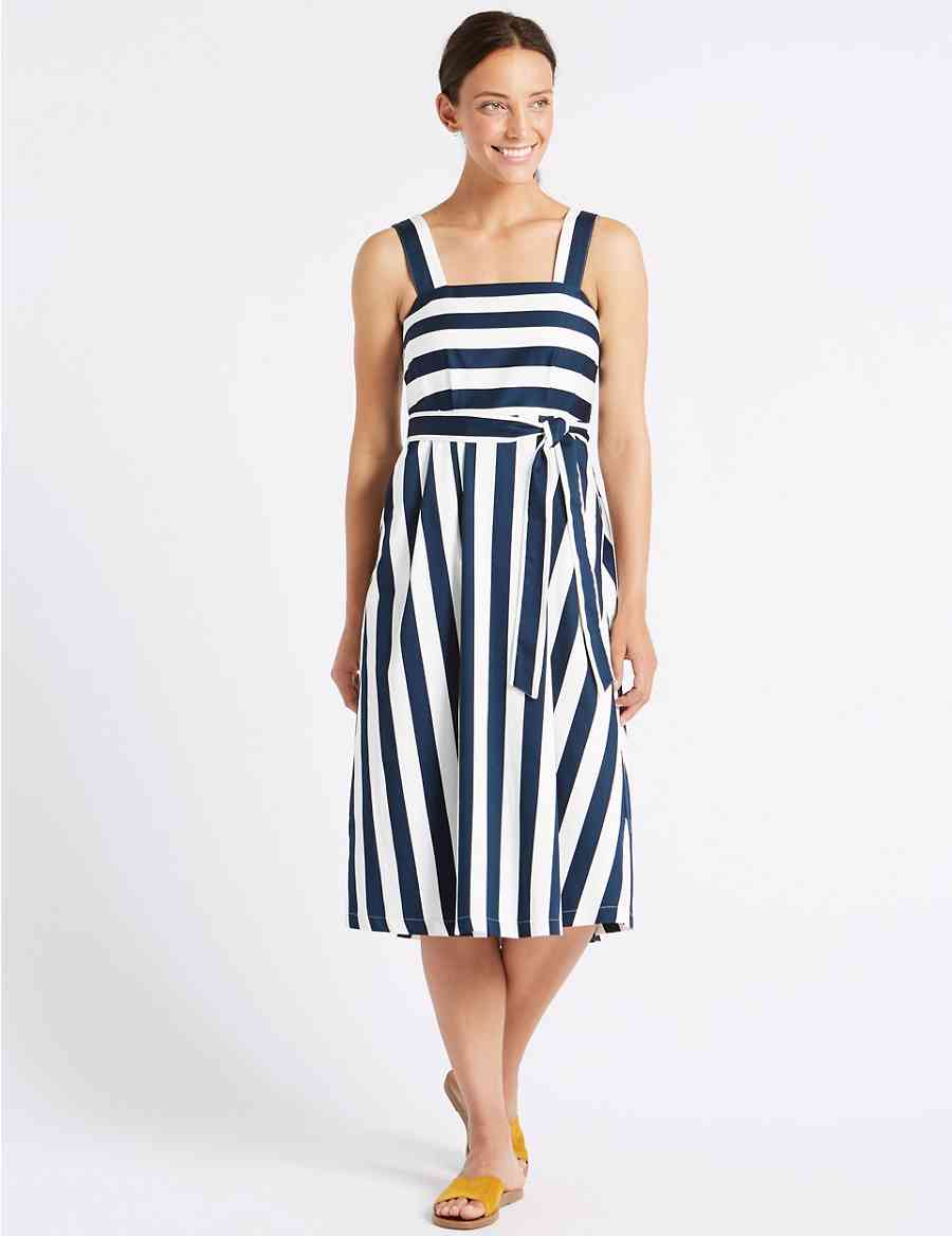 985e94af0 Cotton Rich Striped Skater Midi Dress