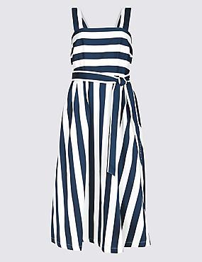 Cotton Rich Striped Skater Midi Dress