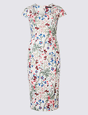 Floral Print Cap Sleeve Bodycon Midi dress