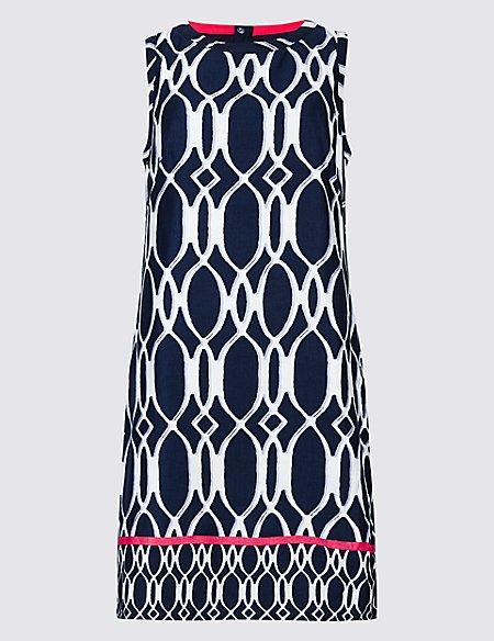 Linen Rich Printed Tunic Dress
