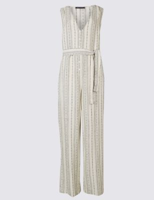 Linen Rich Striped Jumpsuit With Belt by Marks & Spencer