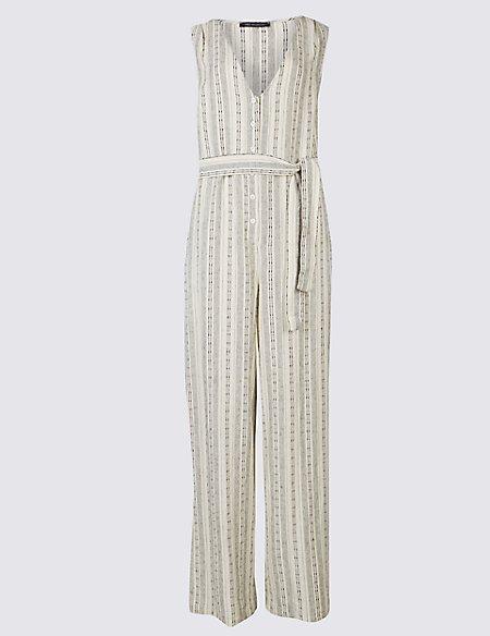 Linen Rich Striped Jumpsuit with Belt