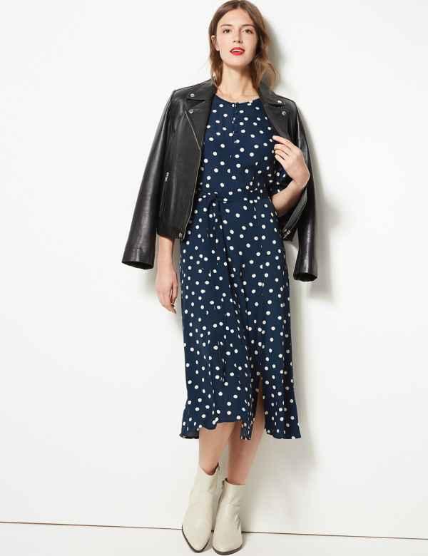 70826efdeb Polka Dot Tie Waist Midi Dress