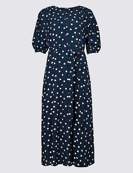 Spotted Half Sleeve Tea Midi Dress