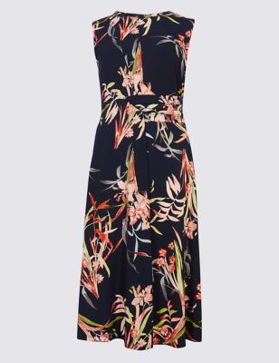 Floral Print Side Drape A Line Midi Dress by Marks & Spencer