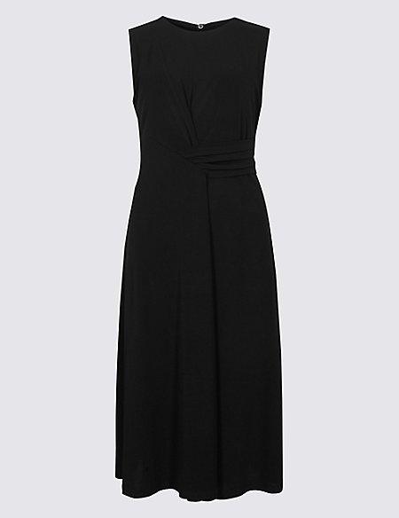 Side Drape A-Line Midi Dress