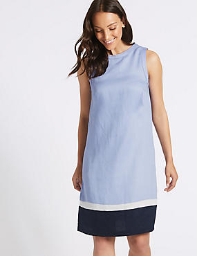 a2f7efc5481 Linen Rich Colour Block Tunic Dress ...