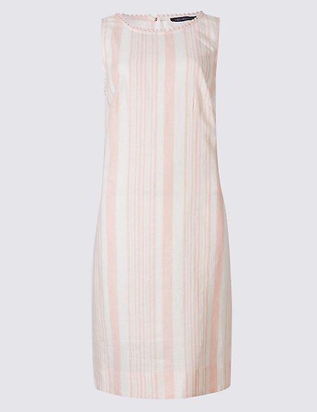 Linen Blend Striped Tunic Dress