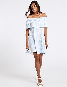 Palm Print Half Sleeve Bardot Dress