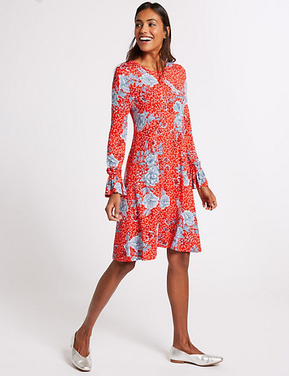31ae4b14f74 Floral Print Ruffle Long Sleeve Swing Dress | Dresses | Marks and ...